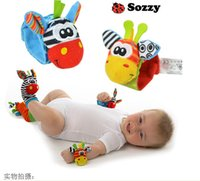 Wholesale Sozzy Rattle baby toys Animal Wristband Socks with bell ringing Wrist Rattle Foot Socks Plush toddler Infant toys for Newborn color choose