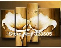 acrylic panels for sale - 4 piece canvas wall art Modern abstract acrylic calla lily picture brown oil painting for sale home decoration