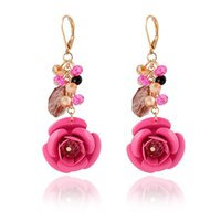 beaded drop earings - Popular Korean Women Charm Earings Jewelry Multi Color Plastic Flower Drop Earrings Fashion Glass Beaded Stud Earrings For Women Gift