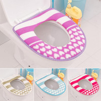 Wholesale 43 cm Thick Stripes Love Pattern Toilet Seat Cover Plush Warm Toilet Seats Waterproof Potty Cover XHH05231