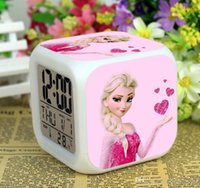 Wholesale LED Colors Change Digital Alarm Clock Frozen Anna and Elsa Thermometer Night Colorful Glowing Clock