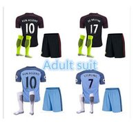 Wholesale Mixed buy DHL send Manchester City kit Suit Jerseys home Blue Away Black KUN AGUERO SANE GUNDOGAN Shirts