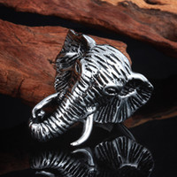 band elephant - Size L Stainless Steel Cool Elephant Biker Band Rings Jewelry For Men Gothic Cool Ring