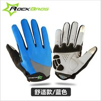 Wholesale 2016 RockBros Motocross Gloves Unisex Gel Palm Full Finger MTB Road Bicycle Bike Gloves Touch Screen Cycling Gloves Shockproof