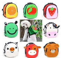 animal coin purse suppliers - 8 Color Canvas Cartoon Dog Pet Schoolbag Backbag With Different Fruit Pet Coin Purse Dog Travel Bags Outside Pet Supplier
