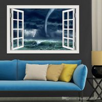 amazing nature - 3D Window Scenery Wall Sticker Home Decor Decals Tornado Decals Amazing Nature PVC Wall Papers Home Decor Living Room Wall Art x28inch