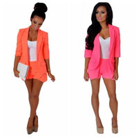 Wholesale New Brand solid color fashion all match ol wind seven sleeve shorts suits women suits rose orange S XL