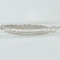 beauty bookmark - 15405 Alloy Bright Silver Beauty Large Feather Leaf Pendant Bookmark