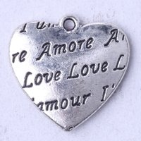 amore charm bracelet - AMORE LOVE Heart Pendant Fit Bracelets or Necklace retro Antique Silver bronze charms DIY jewelry z