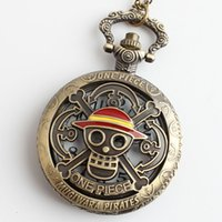 Wholesale new bronze One Piece skull pocket watch necklace with MVMT