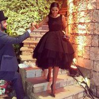 backless dress patterns - Knee Length Little Black Evening Dresses A line Sleeveless Jewel Appliques Cocktail Dresses Tulle Skirt Arabic Dresses Custom Made