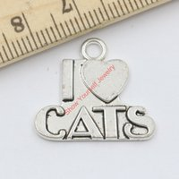 Wholesale Antique Silver Plated Animals I Love My Cat Charms Pendants for Jewelry Making DIY Handmade x23mm C409