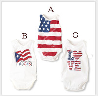 american flag romper - 2016 New Infant Baby American Flag Rompers Toddler Summer Sleeveless Jumpsuits Newborn Babies Onesies One Piece Kids Romper