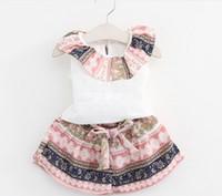 american vintage shirts - 5sets Summer Girl Outfits Set Vintage Flouncing Collar Shirt Bowknot Shorts Outfit Children Leisure Sport Set K7904
