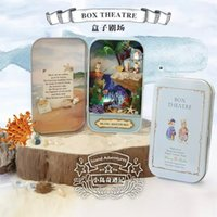 Wholesale Island adventures Box theatre DIY Mini Doll house D Miniature Colored Light Metal box Doll Wooden support Furnitures Decoration