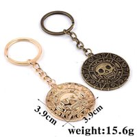 aztec car - 2016 Pirates of the Caribbean Aztec coin Keychain key ring bag hangs pirate skull car keychains for men women fashion jewelry bronze