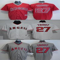 baseball jersys - Mens Los Angeles Angels Jersys Mike Trout Red Grey White New Fabric Baseball jersey Stitched Name and Logo