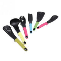 Wholesale 6 in Heat resistant Colorful Nylon Spoon Ladle Colander Spaghetti Server Kitchen Cooker Cooking Kitchenware Cookware Set