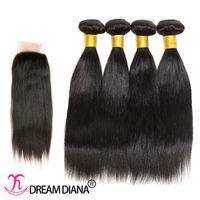 al por mayor la fábrica del pelo más barata-El pelo recto brasileño más barato del 100% pelo 7a teje con el extremo del encierro ningún pelo brasileño de la Virgen del enredo recto con precio de fábrica del cierre