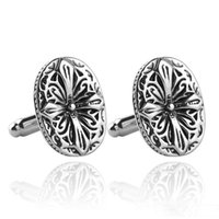 Wholesale Ancient Silver Flower Patter Cufflink Cuff Links Collar Pins for women men Dress suit Cufflinks Fashion Jewelry Christmas gift