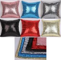 Wholesale Glitter Sequins Pillow Cover Case Cafe Sofa Decor Cushion Cover Solid Colors Home Textiles Decor mermaid Pillow cover cm KKA471