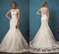 al por mayor sirena del tren-2017 nueva llegada Amelia Sposa vestidos de boda de la sirena Vestidos de Noiva botón del cuello de encaje Sheer Volver barrer de tren vestidos de novia por encargo