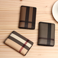 Wholesale Men Mini wallet Colors fashion Classic Plaid Design bank Card ID Holders Top Quality leather brand male coin pocket for women
