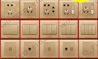 Wholesale Brushed Champagne Gold switch socket wall switch panel five hole socket wall socket switch panel
