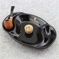 Wholesale Royal Crown Luxury Glossy Black Ceramic Smoking Tobacco Pipe Ashtray with Cork Knocker
