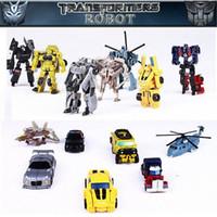 al por mayor wholesale toy cars-7pcs Robot Transformación La transformación de modelos Mini Juguetes Poco modelo de robot de alta calidad al por mayor Coches Avión de juguete de la abeja
