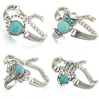 achat en gros de bijoux éléphant turquoise-Vintage Bohemian Turquoise Charm Bracelets Owl Elephant The Hand Of Jewelry Fatima Turquoise Bracelet Ladies Fashion
