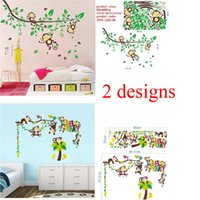 baby room decals tree - 100pcs monkey wall sticker baby room decorations ZY1205 ZY1217 animals tree home pvc decal bedroom mural arts diy adesivo de parede