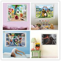animation art - 3D Window Cartoon Animation Comic Movie Role Wall Stickers for Kids Rooms Living Room Home Decor Wall Decor Mural Art