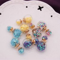 ball earrings crystal glass - 2016 Hot Selling Jewelry Earrings Double Reversible Competing Glass Ball stud earrings Popular Bubbles Pentagram Women s stud earrings