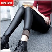 Wholesale Hot style more female winter not wool and wool imitation leather pants outside wear leggings bigger sizes tight elastic warm leather pants