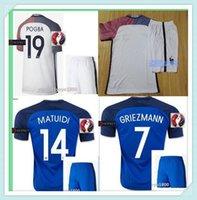 Wholesale Top quality EURO cup new Franceds survetement football home away soccer jerseys maillot de foot shirt