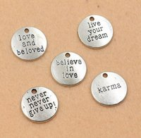 Wholesale 5pcs Antique Silver Tone Karma Never Give Up Love Dream Charms Pendants Jewelry DIY Jewelry Findings x20mm