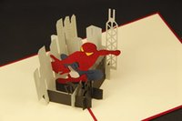 Wholesale Birthday Gift D Greeting Cards with Envelope Pop Up Greeting Card Handmade Spider man Gift Card for Boy