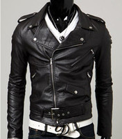 Wholesale Spring Autumn New Men s Leather Jacket Men Leather Masculino Bomber Bike Leather Jackets for Men Skin Jacket Coat M XXL