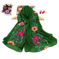 artistic scarves - Retro Ethnic Style Embroidered Scarf Embroidered Shawl Fashion Design Artistic Style Bandana and Pashmina for Ladies