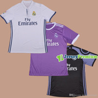 Wholesale 2016 REAL MADRID Home White Away Purple Third Football Soccer Jerseys JAMES BALE BENZEMA MARCELO MODRIC RONALDO SERGIO RAMOS LUCAS V MODRIC