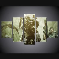 alien paintings - 5 Set No Framed HD Printed Alien Wars Alien Game Painting Canvas Print room decor print poster picture canvas christian paintings