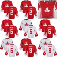Cheap Mens Team Canada #2 Duncan Keith 6 Jake Muzzin 6 Shea Weber 8 Drew Doughty 2016 World Cup of Hockey Olympics Game White Jerseys Stitched