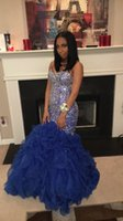 Wholesale Stunning Beaded Black Girl Prom Dresses Sweetheart Crystal Blue Ruffled Organza Mermaid Corset Evening Party Gowns Celebrity Dresses