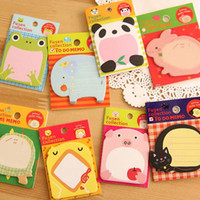 Wholesale Cute sets Cartoon Animal Sticky Notes Creative Post Notepad Filofax Memo Pads Office Supplies School Stationery Prize