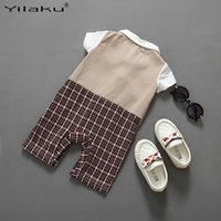 Wholesale Baby Boy Gentlemen Style Turn down Sleeve Rompers Baby Boy Long Sleeve Plaid Rompers Fashion Baby Clothes FF050