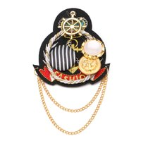 Wholesale ot Sell Women Brooches Retro Western Style Chain Epaulet Brooch Ship Anchor Rudder Badge Multifunction Fashion
