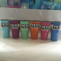 Wholesale Pink Dark Blue Sky Blue Green Purple YETI Cup Tumbler Rambler Cups Yeti Cooler Cup oz Yeti Large Capacity Stainless Steel Travel Mug