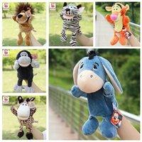 achat en gros de tigre en peluche-10pcs / lot Nouveau 25cm marionnettes à main bande dessinée classique en peluche poupées en peluche poupées de style jouets de mariage Tiger Ours souris