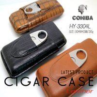 cigar humidor - COHIBA Portable Croco Embossed Genuine Leather Cigar Case Tube Holder Travel Cigar Humidor Box W Metal Cigar Cutter